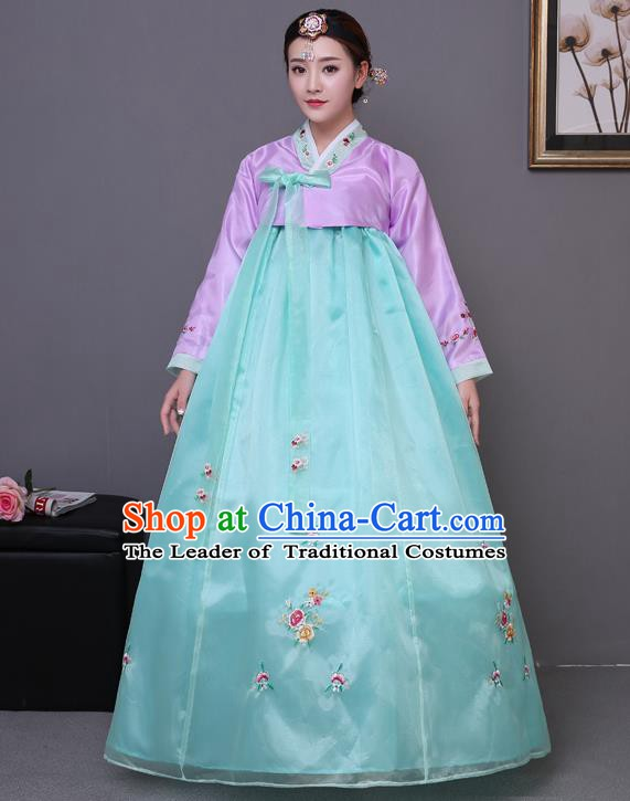 Asian Korean Court Costumes Traditional Korean Bride Hanbok Clothing Purple Blouse and Green Dress for Women