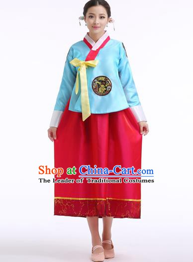 Asian Korean Palace Costumes Traditional Korean Bride Hanbok Clothing Blue Blouse and Red Dress for Women