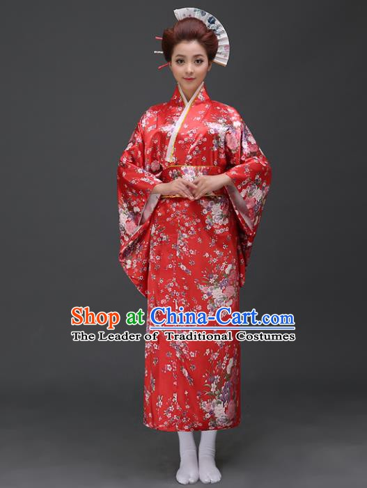 Asian Japanese Traditional Costumes Japan Printing Red Satin Furisode Kimono Yukata Dress Clothing for Women