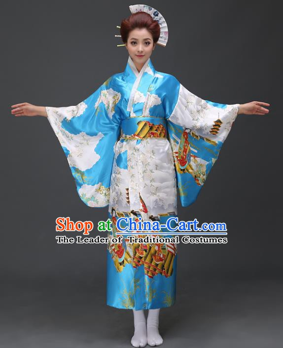 Asian Japanese Traditional Costumes Japan Printing Blue Satin Furisode Kimono Yukata Dress Clothing for Women