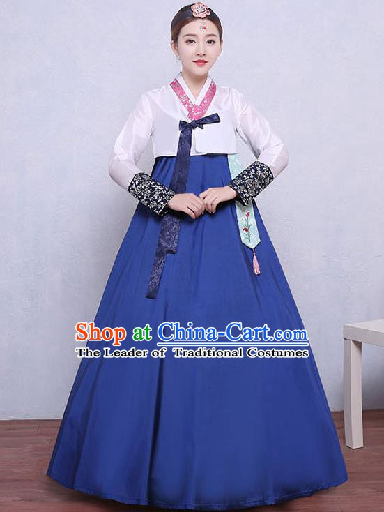 Asian Korean Dance Costumes Traditional Korean Dress Hanbok Clothing White Blouse and Blue Skirt for Women