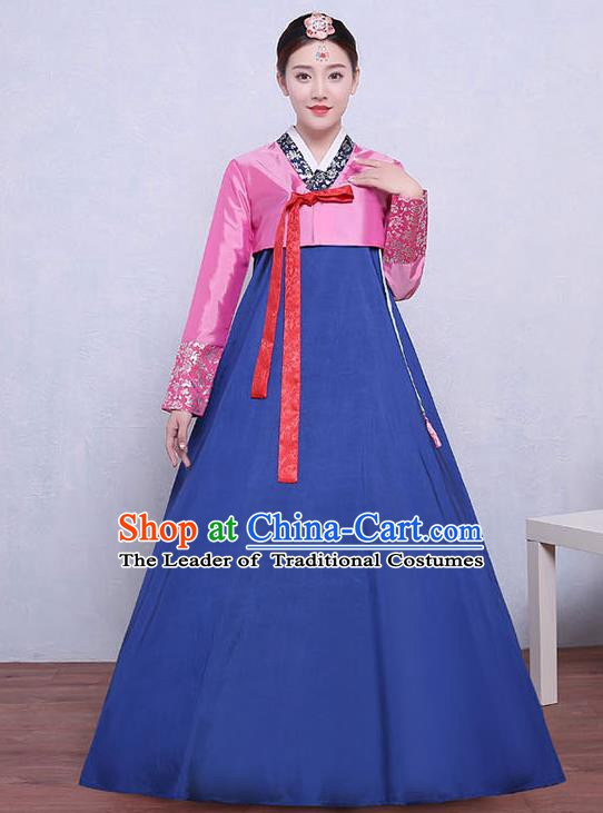 Asian Korean Dance Costumes Traditional Korean Dress Hanbok Clothing Pink Blouse and Blue Skirt for Women