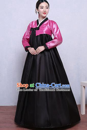 Asian Korean Dance Costumes Traditional Korean Hanbok Clothing Pink Blouse and Black Dress for Women