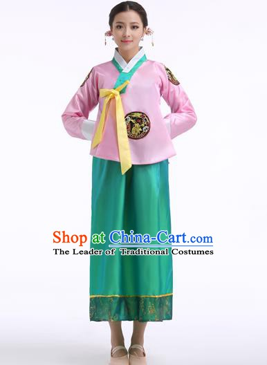 Asian Korean Palace Costumes Traditional Korean Bride Hanbok Clothing Pink Blouse and Green Dress for Women
