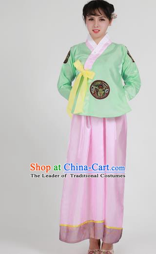 Asian Korean Palace Costumes Traditional Korean Bride Hanbok Clothing Green Blouse and Pink Dress for Women