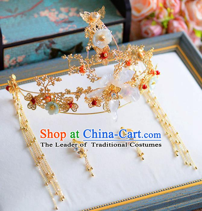 Chinese Handmade Classical Wedding Hair Accessories Ancient Tassel Hairpins Phoenix Coronet for Women