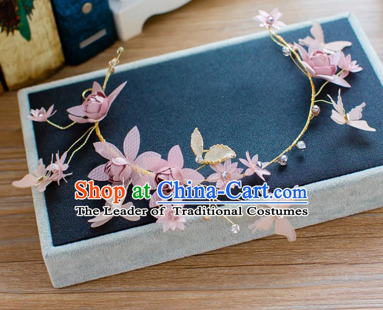 Handmade Classical Wedding Hair Accessories Bride Pink Flowers Hair Clasp Headband for Women