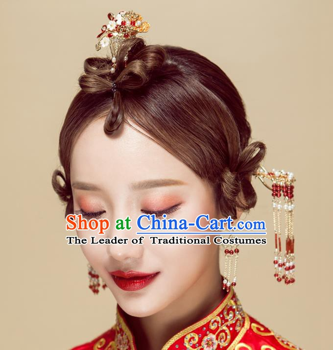 Chinese Handmade Classical Wedding Hair Accessories Ancient Xiuhe Suits Step Shake Hairpins for Women
