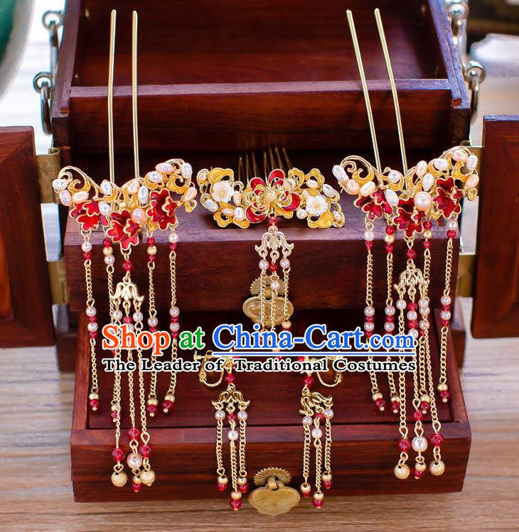 Chinese Handmade Classical Wedding Hair Accessories Ancient Xiuhe Suits Pearls Hair Comb Hairpins for Women