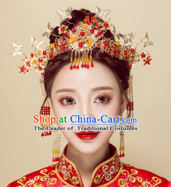 Chinese Handmade Classical Wedding Hair Accessories Ancient Xiuhe Suits Butterfly Phoenix Coronet Hairpins for Women