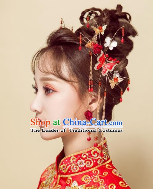 Chinese Handmade Classical Wedding Hair Accessories Ancient Xiuhe Suits Butterfly Hair Clasp Hairpins for Women