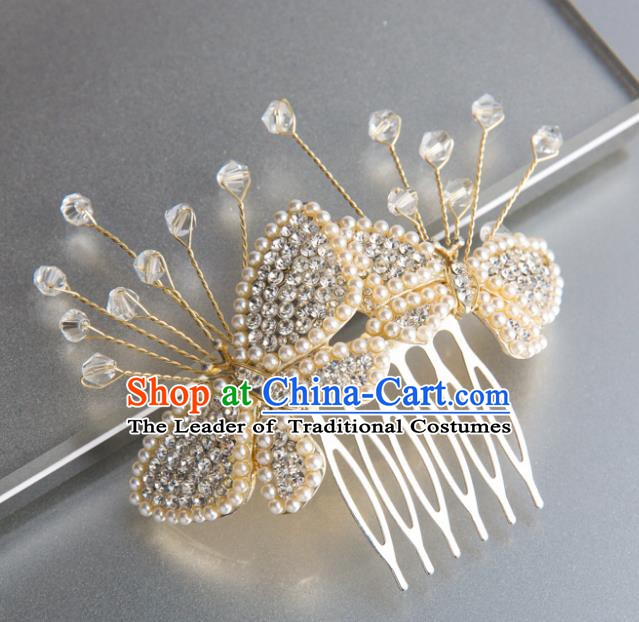 Handmade Classical Wedding Hair Accessories Bride Hairpins Pearls Butterfly Hair Combs for Women
