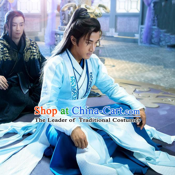 Traditional Chinese Tang Dynasty Swordsman Costume, China Ancient Knight Clothing for Men