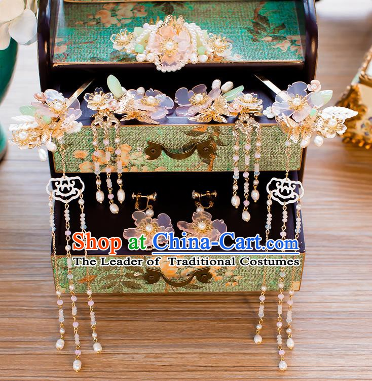 Chinese Handmade Classical Wedding Hair Accessories Ancient Pearls Tassel Hairpins Step Shake for Women
