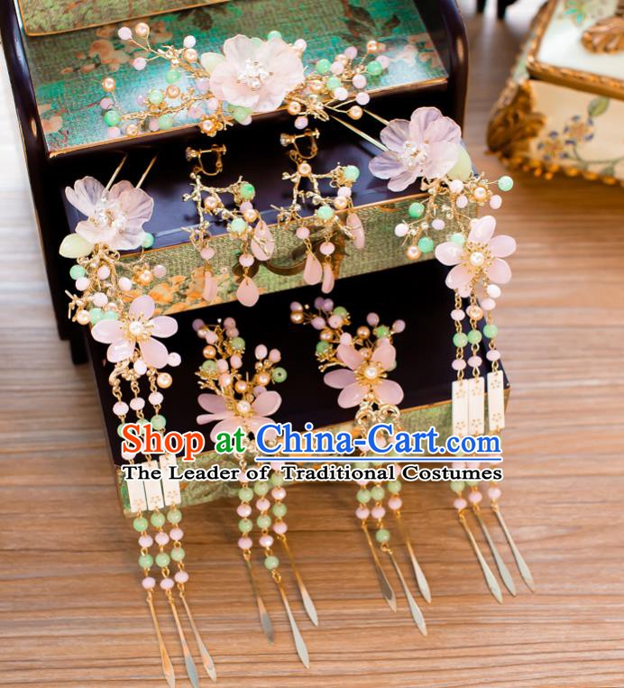 Chinese Handmade Classical Wedding Hair Accessories Ancient Pink Flowers Tassel Hairpins Step Shake for Women