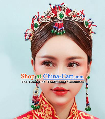 Chinese Handmade Classical Wedding Hair Accessories Ancient Phoenix Coronet Tassel Hairpins Step Shake for Women