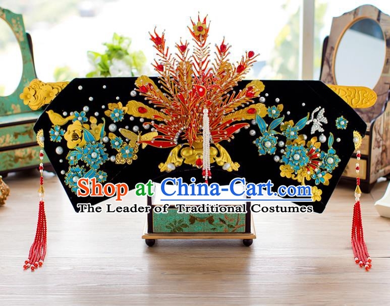 Chinese Handmade Classical Qing Dynasty Hair Accessories Ancient Hairpins Phoenix Coronet Headdress for Women