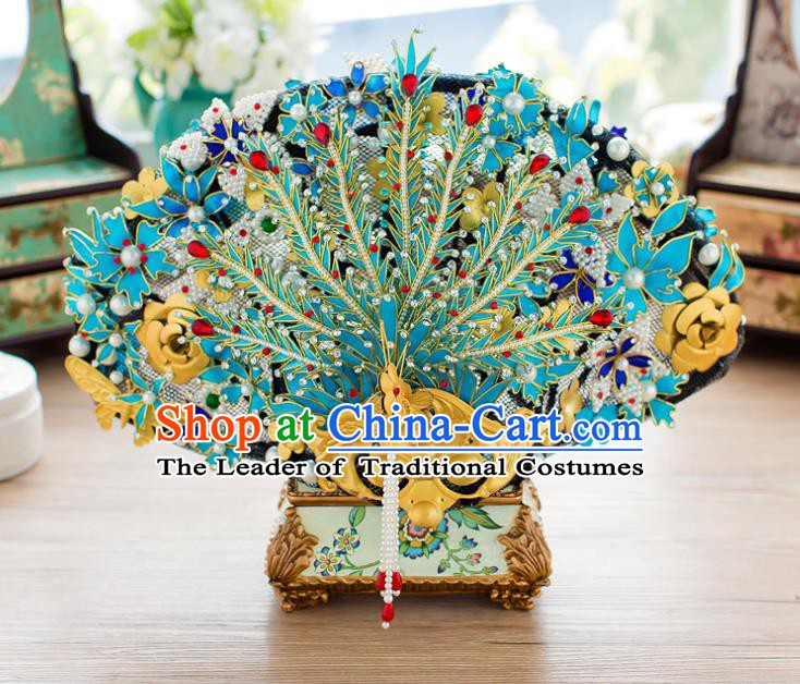 Chinese Handmade Classical Qing Dynasty Palace Hair Accessories Ancient Hairpins Phoenix Coronet Headdress for Women