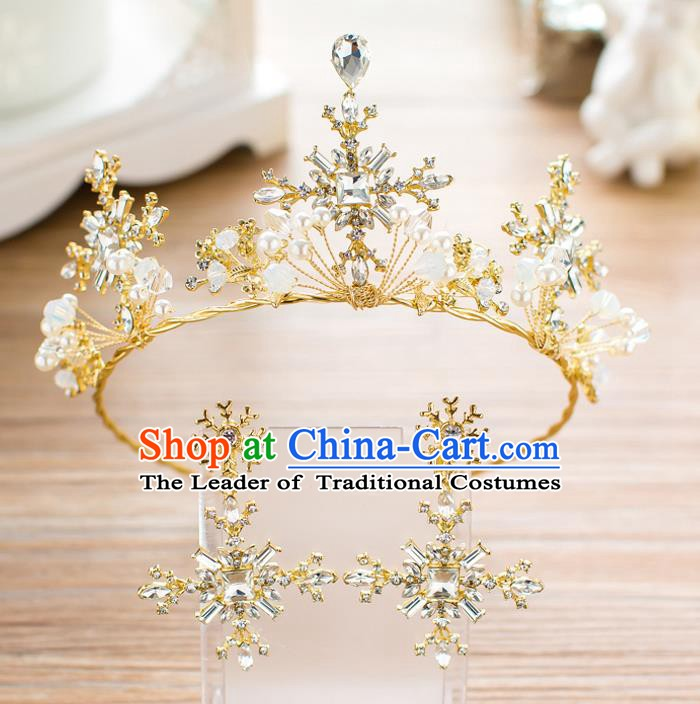 Handmade Classical Wedding Hair Accessories Bride Baroque Golden Crystal Royal Crown Hair Clasp for Women