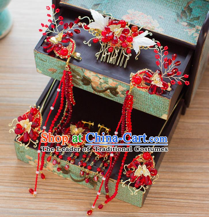 Chinese Handmade Classical Hair Accessories Ancient Palace Red Beads Hair Comb Hairpins for Women
