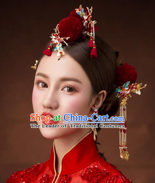 Chinese Handmade Classical Hair Accessories Ancient Bride Wedding Hairpins Complete Set for Women