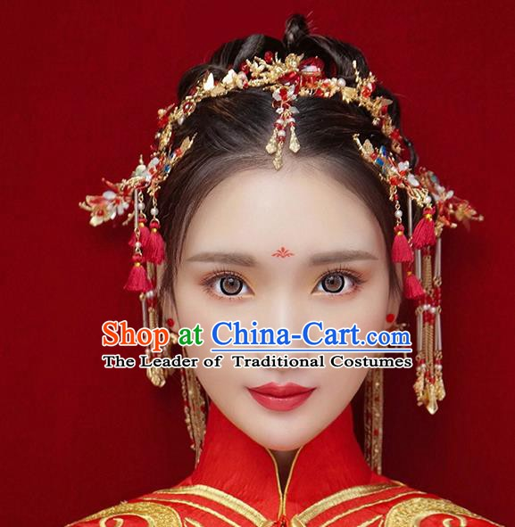 Chinese Handmade Classical Hair Accessories Ancient Bride Wedding Hair Clasp Hairpins Complete Set for Women