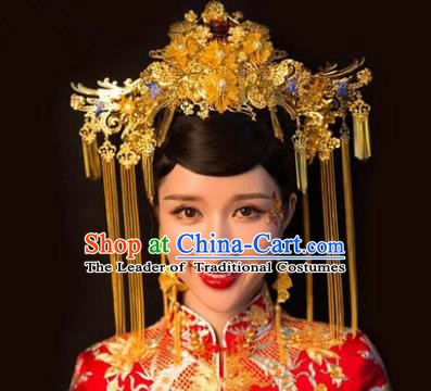 Chinese Handmade Classical Hair Accessories Ancient Queen Phoenix Coronet Hairpins Complete Set for Women