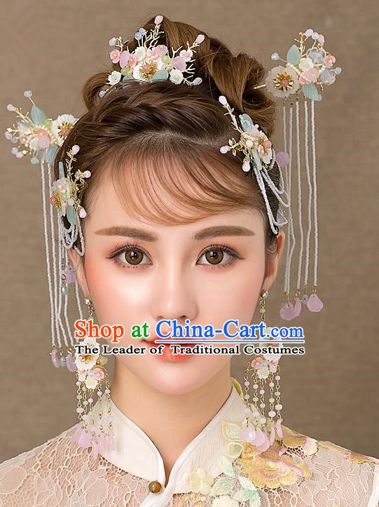 Chinese Handmade Classical Hair Accessories Ancient Bride Tassel Hairpins Complete Set for Women