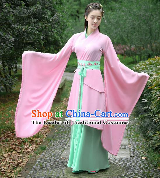 Traditional Chinese Ancient Han Dynasty Palace Lady Clothing Pink Dress Embroidered Curving-front Robe for Women