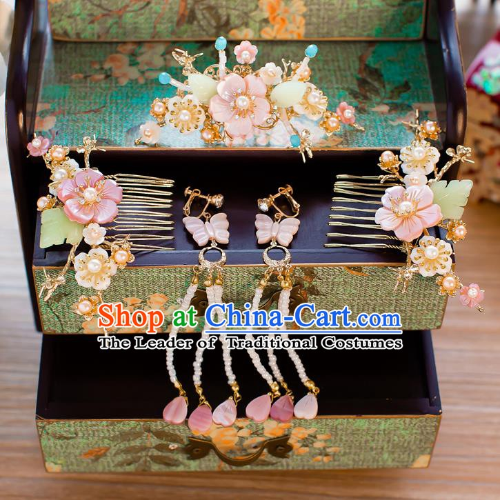 Chinese Handmade Classical Hair Accessories Ancient Hair Comb Tassel Hair Clip Hairpins for Women