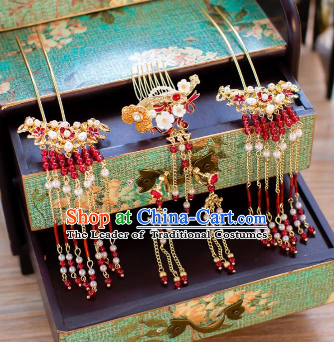 Chinese Handmade Classical Hair Accessories Ancient Red Beads Step Shake Tassel Hairpins for Women
