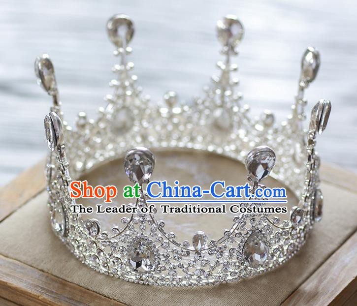Handmade Classical Hair Accessories Baroque Luxury Crystal Hair Clasp Round Royal Crown Headwear for Women