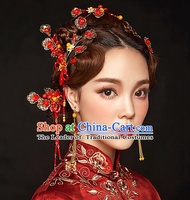 Chinese Handmade Classical Hair Accessories Xiuhe Suit Red Beads Tassel Hairpins Complete Set for Women