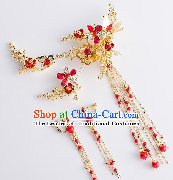 Chinese Handmade Classical Hair Accessories Xiuhe Suit Tassel Hair Clasp Hairpins Complete Set for Women