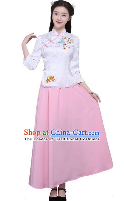 Traditional Republic of China Nobility Lady Costume Embroidered Cheongsam White Blouse and Pink Skirts for Women