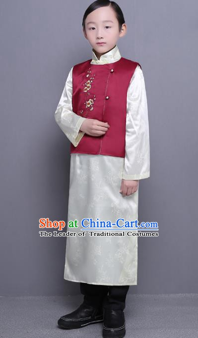 Traditional Republic of China Nobility Childe Embroidered Costume Chinese Long Robe for Men