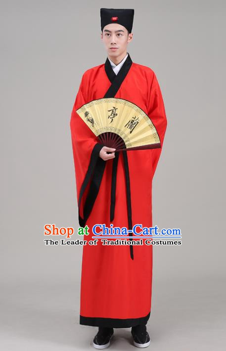 Traditional China Han Dynasty Scholar Costume Red Robe, Chinese Ancient Chancellor Hanfu Clothing for Men