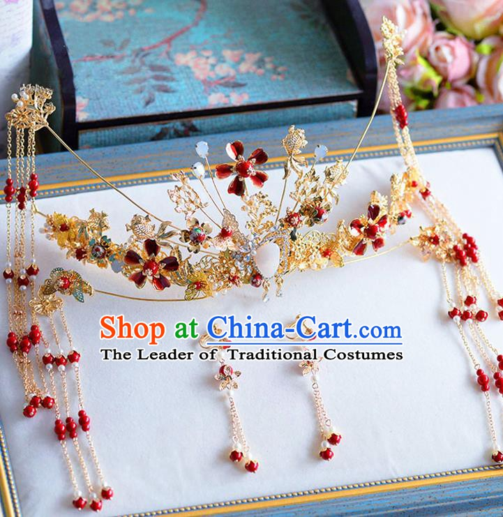 Chinese Handmade Classical Hair Accessories Xiuhe Suit Tassel Phoenix Coronet Hairpins Complete Set for Women