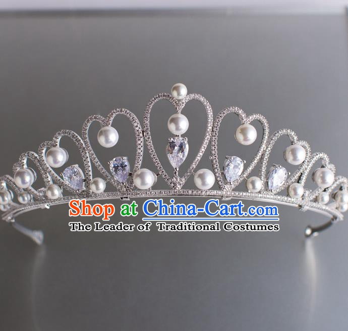 Handmade Classical Hair Accessories Baroque Bride Pearls Royal Crown Crystal Hair Coronet Headwear for Women