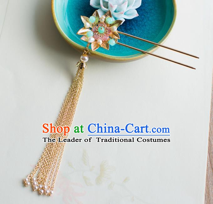 Chinese Handmade Classical Hair Accessories Wedding Hairpins Tassel Step Shake Headwear