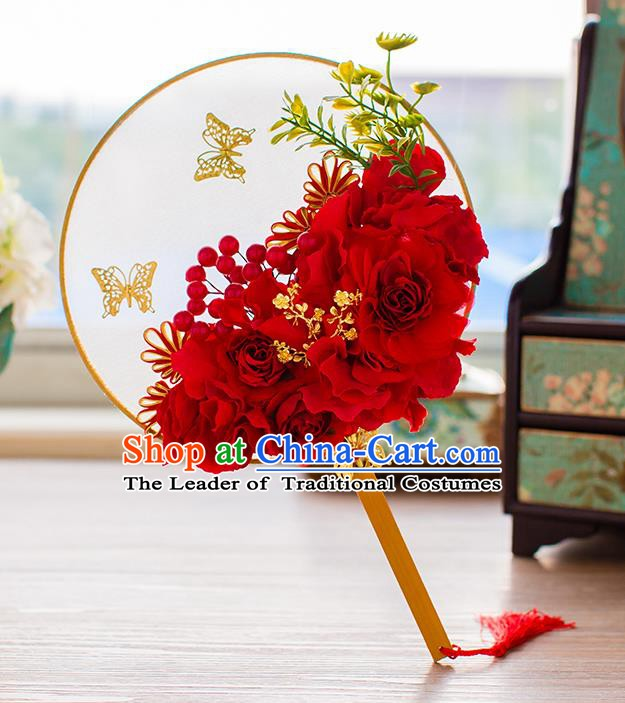 Chinese Handmade Classical Red Peony Butterfly Palace Fans Ancient Wedding Round Fans for Women