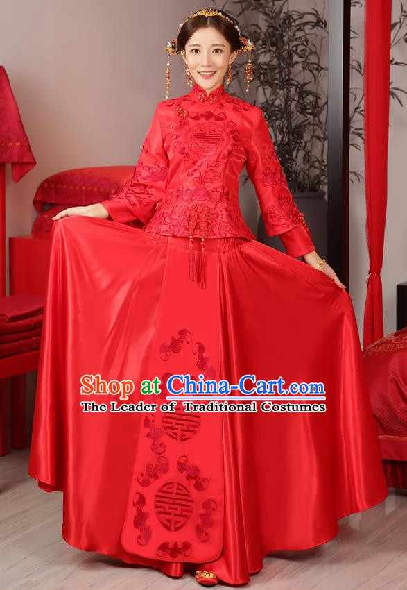 Traditional Ancient Chinese Wedding Costume Bride Embroidered Cheongsam Xiuhe Suits for Women