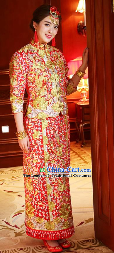 Traditional Chinese Wedding Costume Ancient Bride Toast Cheongsam Embroidered Xiuhe Suits for Women