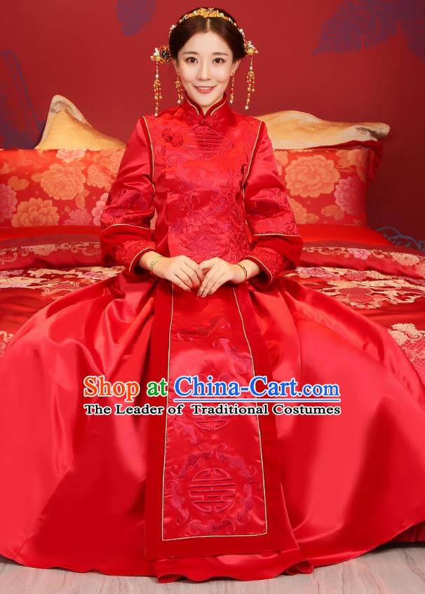 Traditional Chinese Wedding Costume Ancient Bride Red Clothing Embroidered Xiuhe Suits for Women