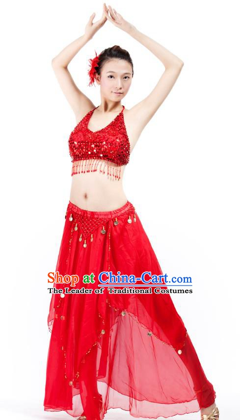 Indian Bollywood Belly Dance Red Tassel Dress Clothing Asian India Oriental Dance Costume for Women