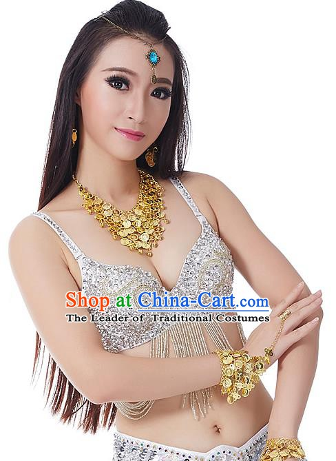 Indian Bollywood Belly Dance White Tassel Brassiere Asian India Oriental Dance Costume for Women