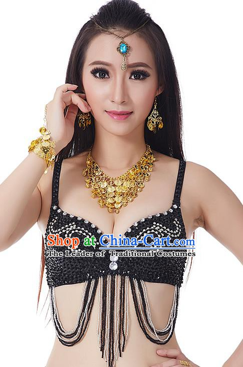 Indian Bollywood Belly Dance Black Tassel Brassiere Asian India Oriental Dance Costume for Women