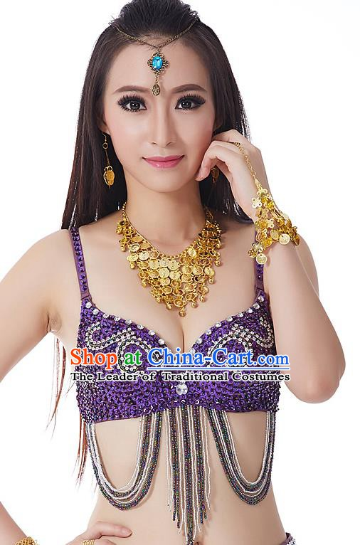Indian Bollywood Belly Dance Purple Tassel Brassiere Asian India Oriental Dance Costume for Women