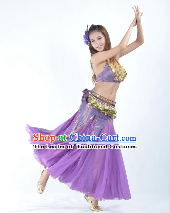 Traditional Indian Bollywood Belly Dance Purple Dress Asian India Oriental Dance Costume for Women
