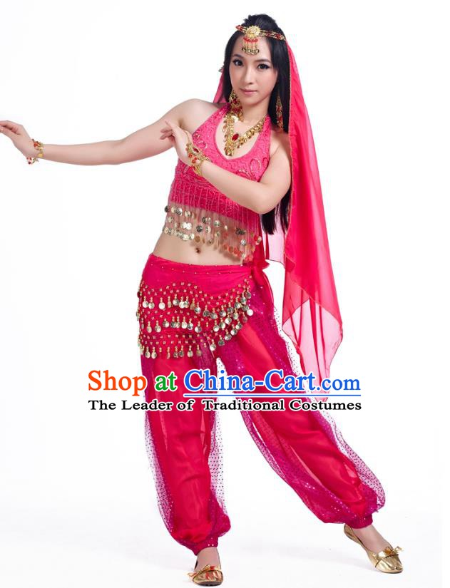 Traditional Indian Belly Dance Sequined Rosy Dress Asian India Oriental Dance Costume for Women